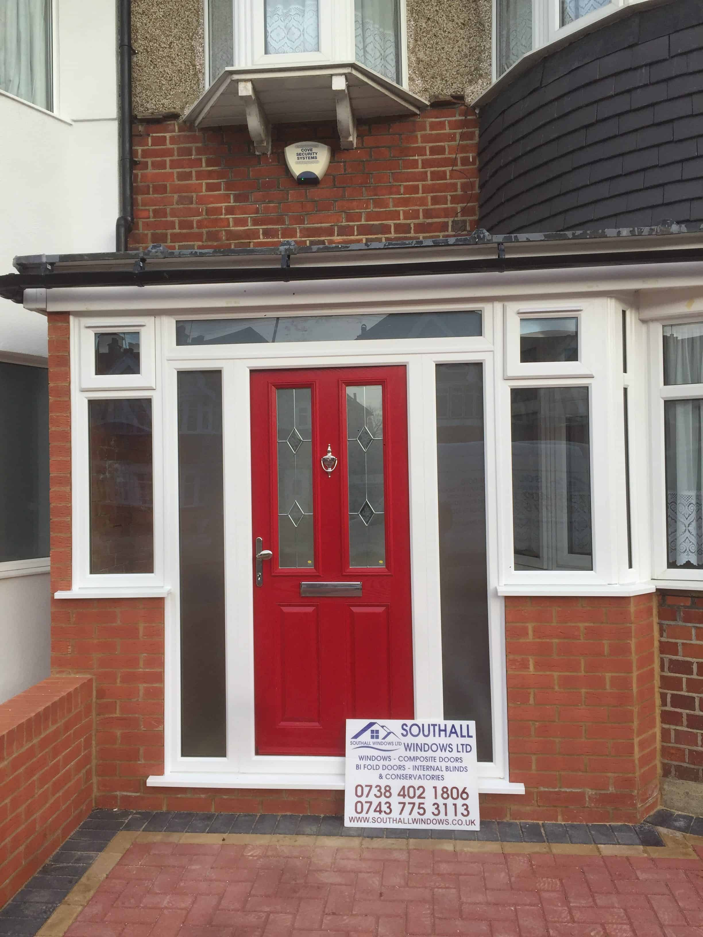 double glazing upvc white porch with composite door